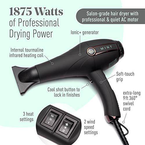 Professional Series Stealth Ionic+ Technology Hair Blow Dryer with Diffuser by MINT | Extremely Quiet with 1875 Watts of Salon-Grade Drying Power. Travel-Ready Dual-Voltage.