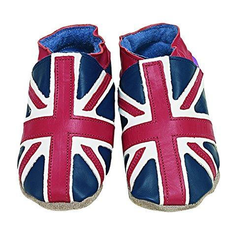 Chaussons cuir bebe enfant drapeau anglais Union Jack - made in England (Taille Medium / 6-12 mois = 12 cm)
