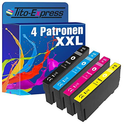 Tito-Express PlatinumSerie 4 cartuchos XXL compatibles con Epson 405XL | Adecuado para Epson Workforce EC-C 7000 WF-3820 DWF WF-3825 DWF WF-3830 DWTF WF-4820 DWF WF-4825 DWF WF-4830 DTWf