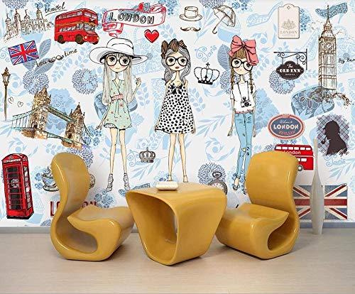Papel pintado mural imagen 3D Papel pintado 3D personalizado Francia Londres estilo de moda tienda de ropa herramientas fondo mural de pared