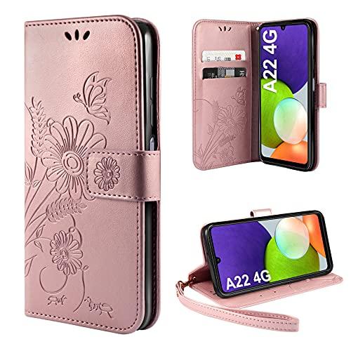 AROYI Handyhülle Kompatibel mit Samsung Galaxy A22 4G Hülle (Nicht für A22 5G) Flip Lederhülle, Handyhülle Book Hülle PU Leder Tasche Hülle & Magnet Kartenfach Schutzhülle - Goldrose