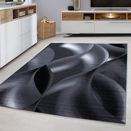 Ayyildiz Teppich-Teppich Designer Modern Kurzflor Abstrakt Muster ,  Polypropylen, Schwarz, 80 X 150