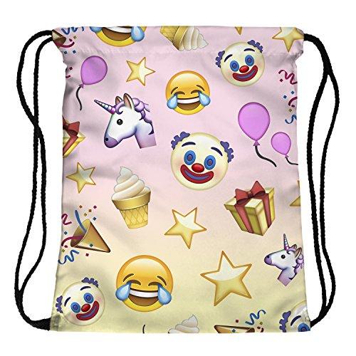 Fringoo - Mochila de cuerdas (para niños, niñas y adolescente) multicolor Emoji Birthday H40 x L33 cm