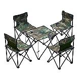 折りたたみキャンプ テーブル 椅子付き アウトドア チェア テーブル 5点セット 椅子 背もたれ付き (迷彩)