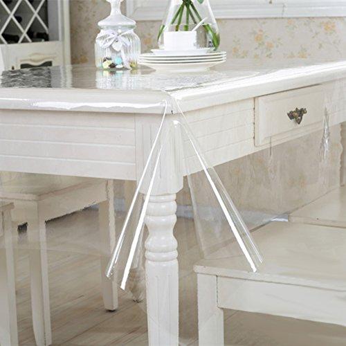 HM&DX PVC Transparent Tischdecken Geldklammer Wasserdicht Abwaschbar Weiches 0.5mm dicken Tabelle Tuch abdecken Abdeckung für runde rechteck Tisch-Klar 138x180cm(54x71inch)