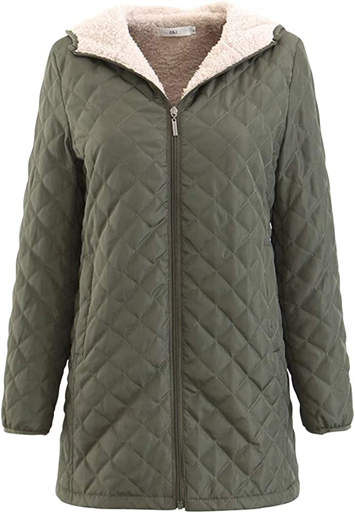 Raroauf Womens Quilted Jacket,Mid-Long Fleece Quilted Padded Coats with Hooded