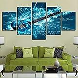 aicedu Impression sur Toile HD Art Mural Salle de séjour Décoration de la Maison 5 Bleu Guitare électrique Peinture Rock Musique Cartel Cadre
