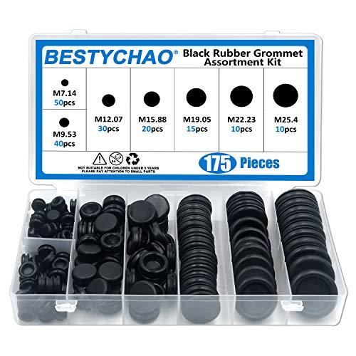 BESTYCHAO 175pcs 7 Größen Schwarze Gummitülle Elektrischer Leiter Dichtungsring-Sortiment zum Schutz von Drähten, Steckern und Kabeln