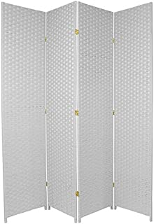 Oriental Furniture 7 ft. Tall Woven Fiber Room Divider - White - 4 Panel