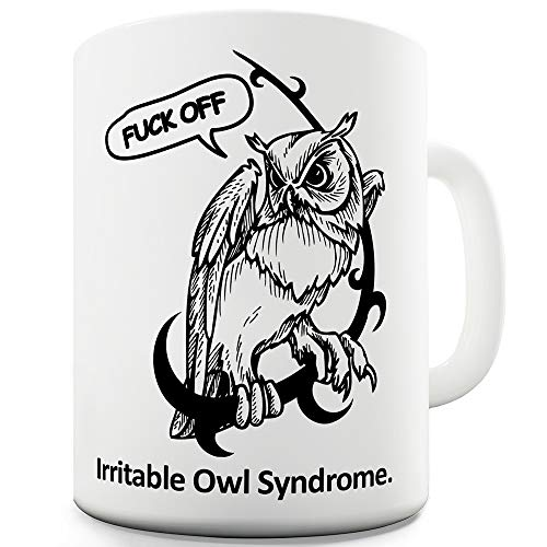 Irritable Owl Syndrome Mug with rude F*** Off message
