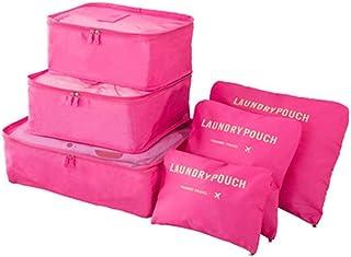 طقم حقيبة سفر مكون من 6 قطع، منظم الحقائب وأكياس الغسيل (زهري)