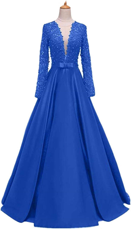 Ai Maria Deep VNecked LongSleeved Ball Dress Lace Beaded Bridal Wedding Dresss