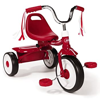 Radio Flyer 411S Kids Toddler Readily Assembled Adjustable Beginner Trike Tricycle Bike with Storage Bin and Handle Streamers Red