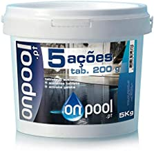 Onpool - Cloro 5 Acciones 5 Kg en Pastillas de 200 g para Piscina - Ideal para Uso como desinfectante, antialgas, clarificador, estabilizador de Cloro y antihongoS