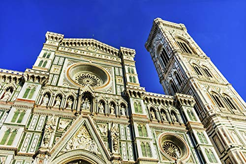 Posterazzi PDDEU16WPE0511 Cathedral di Santa Maria del Fiore Facade, Florence, Italy. Baptistery was Created in 1100's Photo Print, 18 x 24, Multi