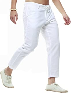 Men Beach Trousers Linen Drawstring Straight Fit Beach Capri Pants