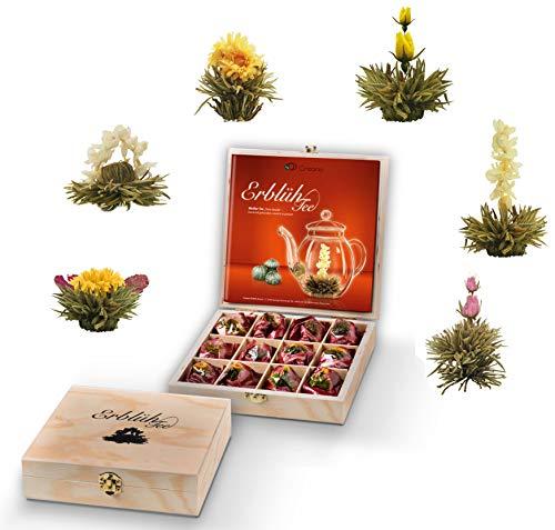 Creano Teeblumen Geschenkset in Teekiste aus Holz, 12 ErblühTee Frühjahrslese in 6 Sorten | Weißer Tee