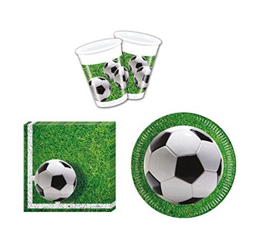 52 Teile Party-Geschirr Set Fußball Garten-Party - Teller Becher Servietten für 16 Personen
