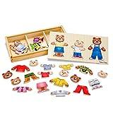 Melissa & Doug Mix 'n Match Wooden Bear Family Dress-Up Puzzle