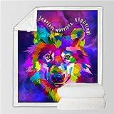 VFUBITZ Cobija Ropa de Cama Outlet Perro Manta Suave Manta de Arte de Acuarela Manta mullida de Tiro Colorf 228cmx228cm Lobo