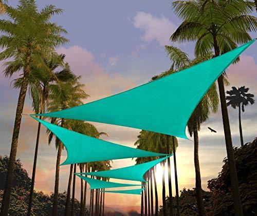 Amgo Sonnensegel, 3,5 x 3,5 x 4,2 m, türkis, dreieckig, Vordach, Vorzelt, Stoff, UV-beständig, strapazierfähig, handelsübliche Qualität – (erhältlich für individuelle Größen)