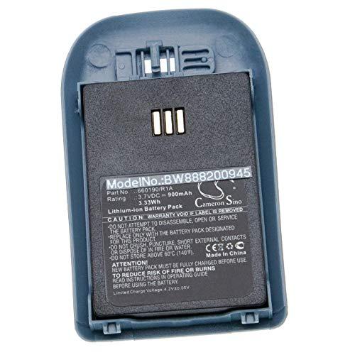 vhbw Akku Ersatz für Ascom 5530000102, 660190, 660190/R2B, 660217 für schnurlos Festnetz Telefon (900mAh, 3.7V, Li-Ion) inkl. Rückdeckel