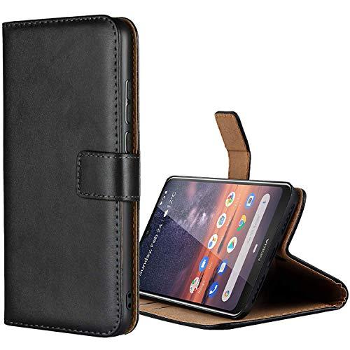 Aopan Nokia 3.2 Hülle, Flip Echt Ledertasche Handyhülle Brieftasche Schutzhülle für Nokia 3.2, Schwarz