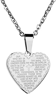 Fusamk Fashion Religious Stainless Steel Christian Scripture Cross Heart Tag Pendant Necklace