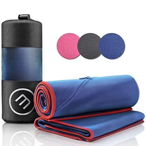 Juego de Toallas de Microfibra + Funda de Transporte | Set de 2 Azules: Grande para baño, pequeño para Cuerpo y Cara | Ultra-Ligeras, absorbentes, de Secado rápido - Deporte Viaje Playa Gimnasio