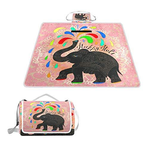 TIZORAX Couverture de Pique-Nique imperméable avec Motif Happy Holi Motif éléphant Indien Motif Floral