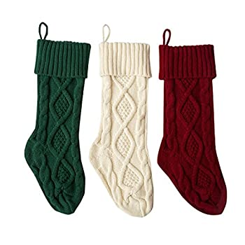 Solucky Set of 3 18   Classic Solid Color Christmas Knit Stockings White Red and Green