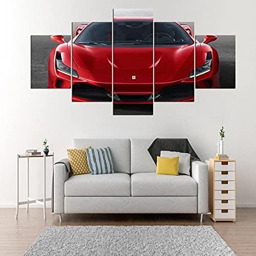 GHYTR Imagen sobre Lienzo Cuadros Abstractos Modernos XXL Poster 5 Piezas Coche Deportivo De Lujo Red F Arte De Pared Imágenes Modulares Sala De Estar Decoración para El Hogar 150X80Cm