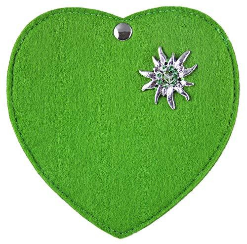 Herz Trachtentasche mit Edelweiß Applikation für Kinder Hellgrün
