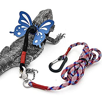 Bearded Dragon Leash with Harness Adjustable Leather Butterfly Wings Costume Carrier from Baby to Juvenile Lizard Iguana Gecko Reptile Walking Leash Holiday Party Accessories Blue