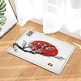 Kwboo Tinta Japonesa, decoración Floral, Sakura en Flor y alfombras de baño Rojas, alfombras Antideslizantes para Pisos de Felpudo, Puertas de Entrada Interiores, 15.7x23.6in
