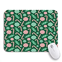 NINEHASA 可愛いマウスパッド 緑のキャンディークリスマスパターン赤ヒイラギ杖お祝いかわいいノンスリップゴムバッキングコンピューターマウスパッド用ノートブックマウスマット