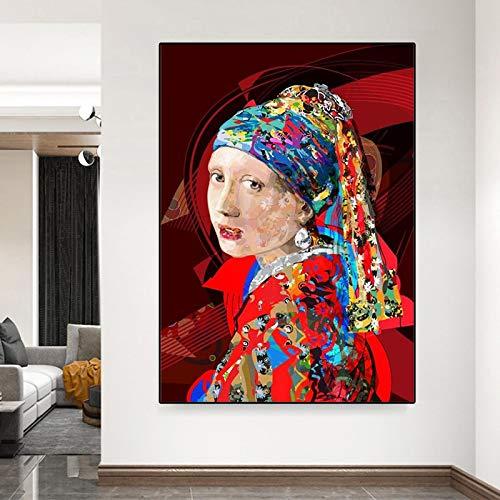Abstracto Chica Con Pendientes De Perla Lienzo Pintura Carteles Y Impresiones Arte De La Pared Fotos De Arte Famoso Imagen Para La Habitación Decoración Del Hogar - 60x90cm Sin Marco