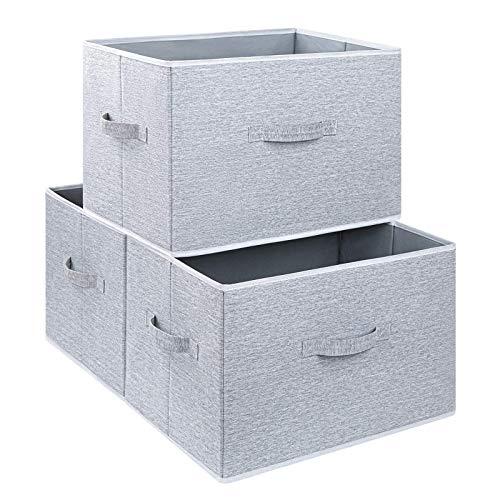 DIMJ 3 Stück Aufbewahrungsboxen Stoff, Faltbare Aufbewahrungskiste mit Griff, Groß Aufbewahrungskorb für Kleiderschrank, Kleidung, Bücher, Spielzeug (Hellgrau)