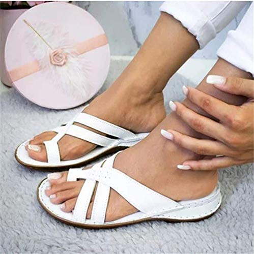 JXJ for Women Casual Soft Big Toe Foot Correction Sandal Orthopedic Bunion Corrector Comfy PU Leather Sandal Women Open Toe Sandal,White,43