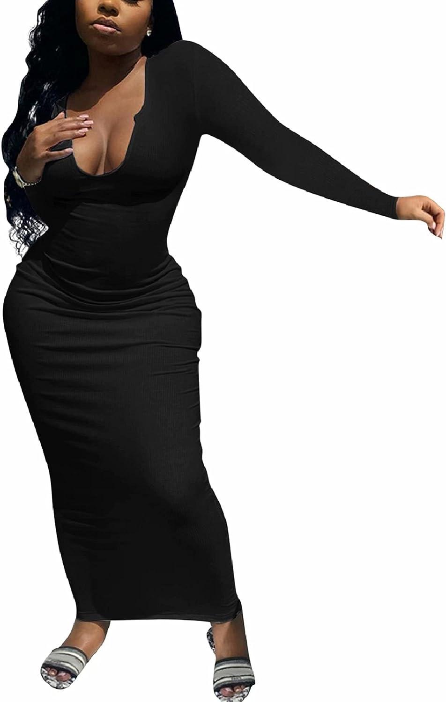 Adogirl Women's Sexy Long Sleeve Casual Slit Scoop Neck Ottoman Rib Club Elegant Basic Bodycon Dresses Long Maxi Dress