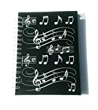 Little Snoring Gifts: A6 Hardback Spiral Bound Notebook ? Black With White Musical Notes
