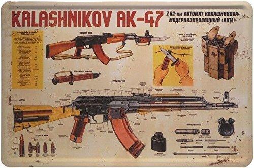Blechschild 20x30 cm Waffe Kalashnikov AK-47 Maschinengewehr Metall Schild