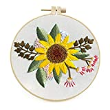 Maydear Stamped Embroidery Kit for Beginners with Pattern, Cross Stitch kit, Embroidery Starter Kit Including Embroidery Hoop, Color Threads and Embroidery Scissors - Sunflower