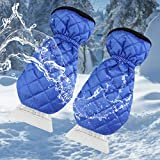 Ice Scraper for Car Windshield with Mitt 2 Pack Snow Ice Scraper Remover Tool with Glove Waterproof Warming Snow Shovel for car Window, Scratch-Free(Blue, 2 Pack)