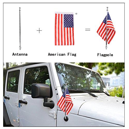 aochuang Zwart Aluminium/Multifunctionele Antenne Vervanging + Amerikaanse vlag en vlaggenmast voor 2007-2017 Wrangler JK Chroom