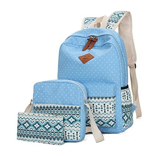 MEOBHI Schultasche2018 Fashion Ethno Style Damen Rucksack Hochwertige Canvas Rucksäcke Kinder Schultaschen für Mädchen Feminina, himmelblau