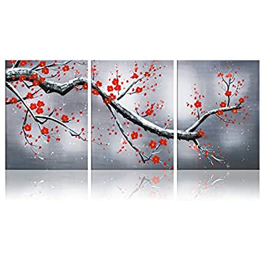 Ode-Rin Art - Modern Abstract Floral Tree Canvas Wall Art for Home Decoration Abstract Tree Art Painting for Wall Landscapes framed artwork Ready to Hang - (36 x16 inch)