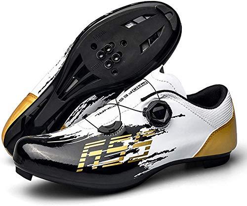 JINFAN Bicicleta Zapatillas de Ciclismo de Carretera para Hombre Compatible con Peloton Shimano SPD + Look ARC Delta Bicicletas de Carreras de Carretera,White-UK6.5=(250mm)=40EU