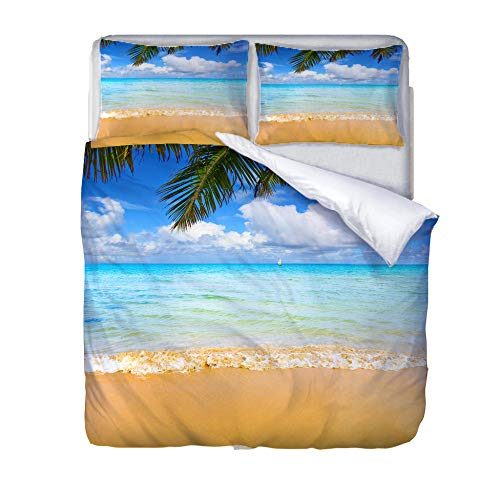 SXCSJT Bedding, beach coconut tree, digital printing duvet cover, polyester fiber, customizable, three-piece comfortable at home, 140Cm×200Cm.