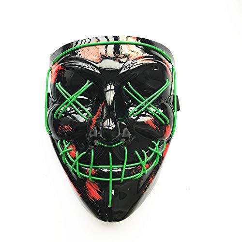 LED Maske mit 3 Blitzmodi für Halloween Fasching Karneval Party Kostüm Cosplay Dekoration LED Halloween Maske Party Terrorist Geistermaske (Grün)